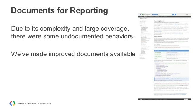 Documents for Reporting Due to its complexity and large coverage, there were some undocumented behaviors. We've made impro...