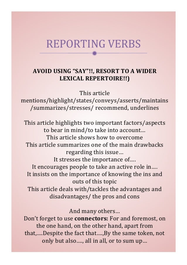 """ REPORTING  VERBS   AVOID  USING  """"SAY""""!!,  RESORT  TO  A  WIDER   LEXICAL  REPERTOIRE!!)      Th..."""