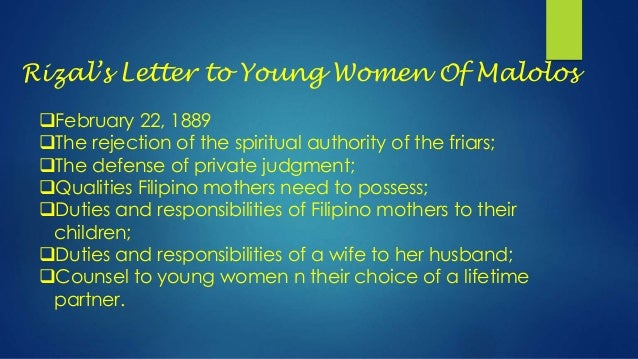 criticism of the letter to young women of malolos The women of malolos has 16 ratings and 1 review on december 12, 1888, 20  young women from the leading mestizo–sangley clans of malolos signed a letter .