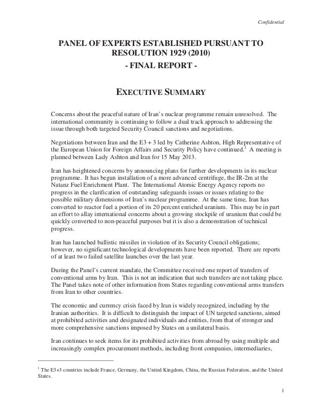 Confidential1PANEL OF EXPERTS ESTABLISHED PURSUANT TORESOLUTION 1929 (2010)- FINAL REPORT -EXECUTIVE SUMMARYConcerns about...