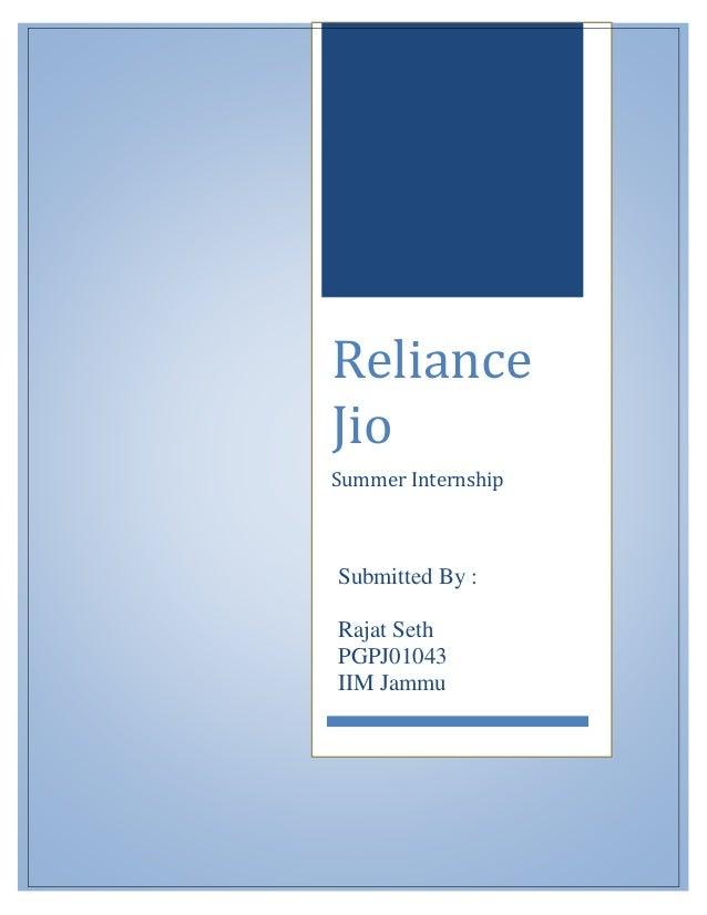 Summer Internship Report Reliance Jio - Customer Acquisition