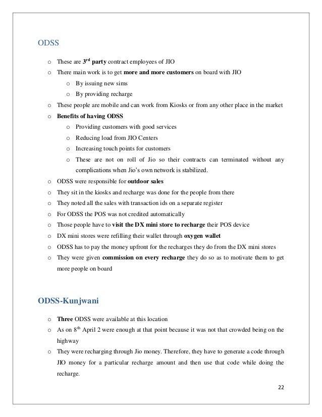 Summer Internship Report Reliance Jio - Customer Acquisition and Rete…