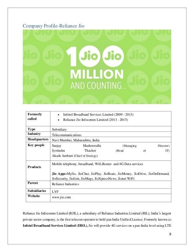 Summer Internship Report Reliance Jio Customer