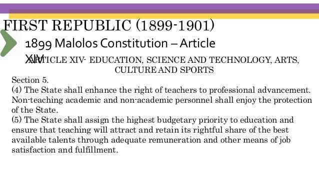 FIRST REPUBLIC (1899-1901) Schools Built Universidad Literaria de Filipinas (October 19, 1898), was established by former ...