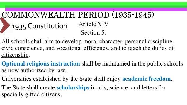 COMMONWEALTH PERIOD (1935-1946) Legal Mandates – Commonwealth Acts•Commonwealth Act #586 Education Act of 1940- reduction ...
