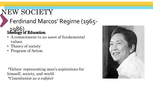 "NEW SOCIETY Ferdinand Marcos' Regime (1965- 1986)Presidential Decree 6-A. ""Educational Development Decree of 1972"" 1. Prov..."