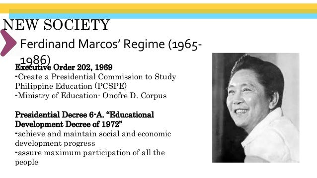 NEW SOCIETY 1972 Constitution SEC. 8. (1) All educational institutions shall be under the supervision of, and subject to r...