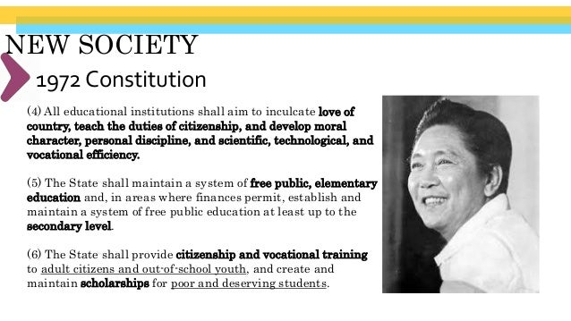 NEW SOCIETY Ferdinand Marcos' Regime (1965- 1986) (8) At the option expressed in writing by the parents or guardians, and ...