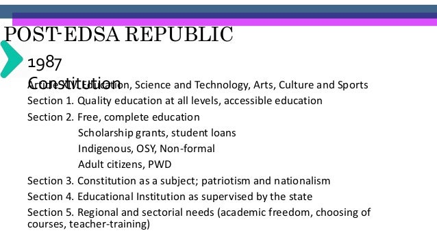 """POST-EDSA REPUBLIC FidelV. Ramos' Administration (1992- 1998)""""2. EDUCATION • Ensuring full and unimpeded access by all to ..."""