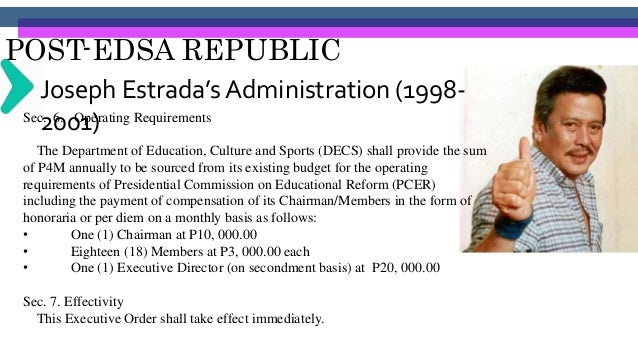POST-EDSA REPUBLIC Gloria Arroyo's Administration (2001- 2010)Constructing More School Buildings To date, the government h...