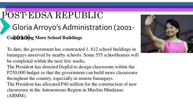 POST-EDSA REPUBLIC Gloria Arroyo's Administration (2001- 2010)Implementing the Basic Education Curriculum (BEC) • Another ...