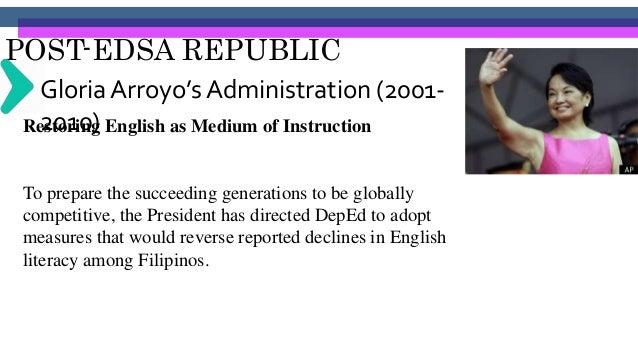 POST-EDSA REPUBLIC Gloria Arroyo's Administration (2001- 2010) Improving Teacher Welfare The DepEd has succeeded in improv...