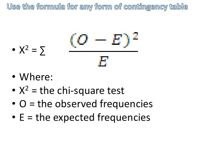 • X2 = ∑ • Where: • X2 = the chi-square test • O = the observed frequencies • E = the expected frequencies