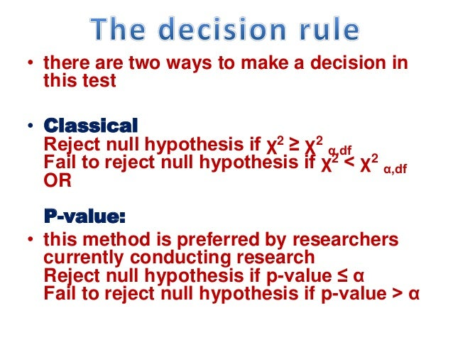 • there are two ways to make a decision in this test • Classical Reject null hypothesis if χ2 ≥ χ2 α,df Fail to reject nul...