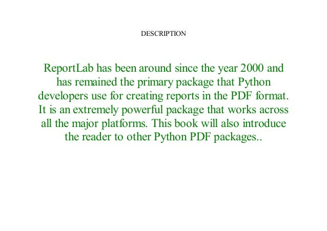 Read ReportLab: PDF Processing with Python by E-Book Online^