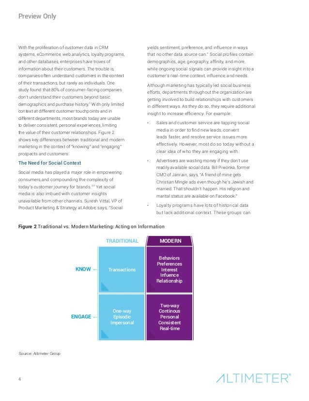 4 With the proliferation of customer data in CRM systems, eCommerce, web analytics, loyalty programs, and other databases,...