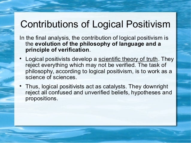 language and logical positivism Positivism (philosophy) logical positivism was the leading school in carnap proposed a replacement for the earlier doctrines in his logical syntax of language.