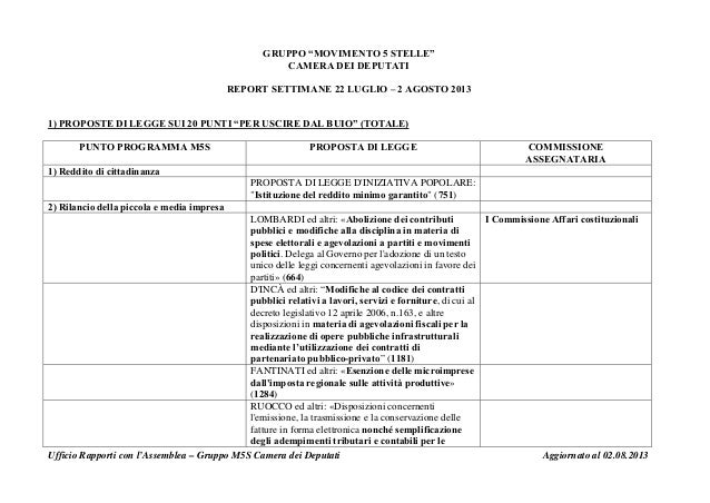 """GRUPPO """"MOVIMENTO 5 STELLE"""" CAMERA DEI DEPUTATI REPORT SETTIMANE 22 LUGLIO – 2 AGOSTO 2013 1) PROPOSTE DI LEGGE SUI 20 PUN..."""