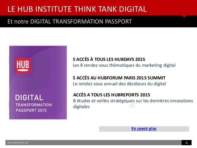 LE HUB INSTITUTE THINK TANK DIGITAL Et notre DIGITAL TRANSFORMATION PASSPORT En savoir plus www.HUBinstitute.com 31 5 ACCÈ...