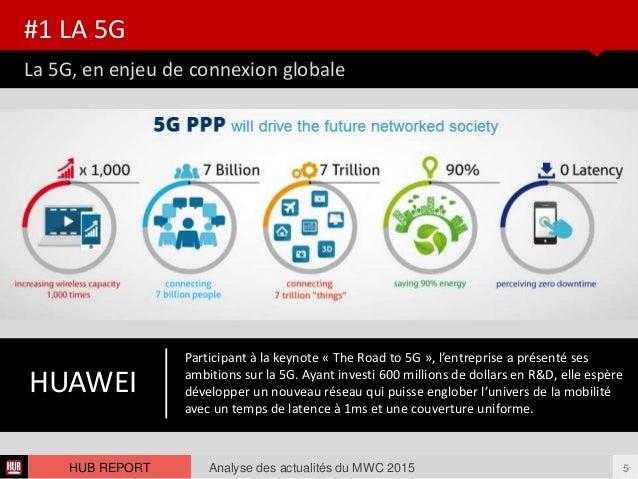 La 5G, en enjeu de connexion globale #1 LA 5G Analyse des actualités du MWC 2015 5HUB REPORT HUAWEI Participant à la keyno...