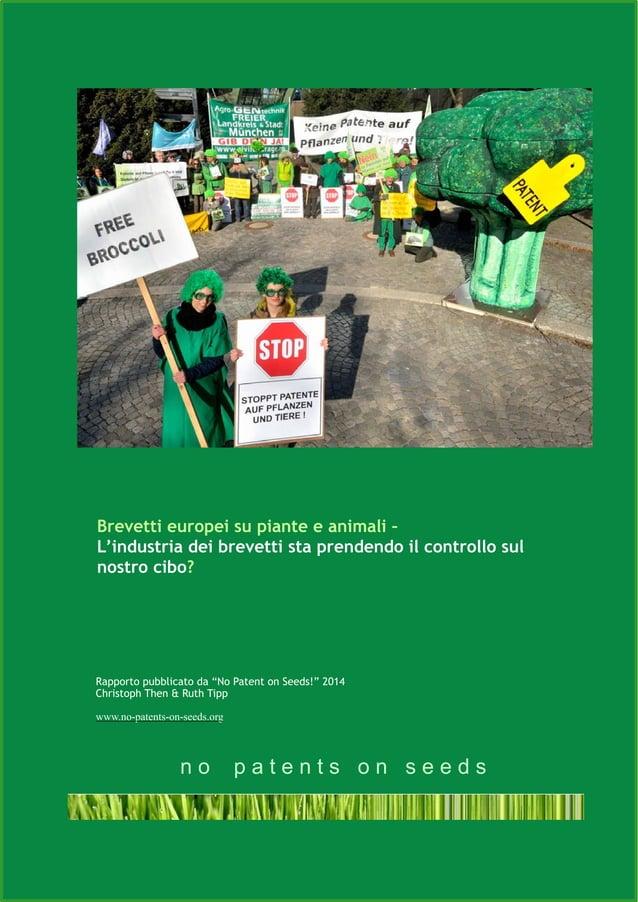 !1 Brevetti europei su piante e animali – L'industria dei brevetti sta prendendo il controllo sul nostro cibo? Rapporto pu...