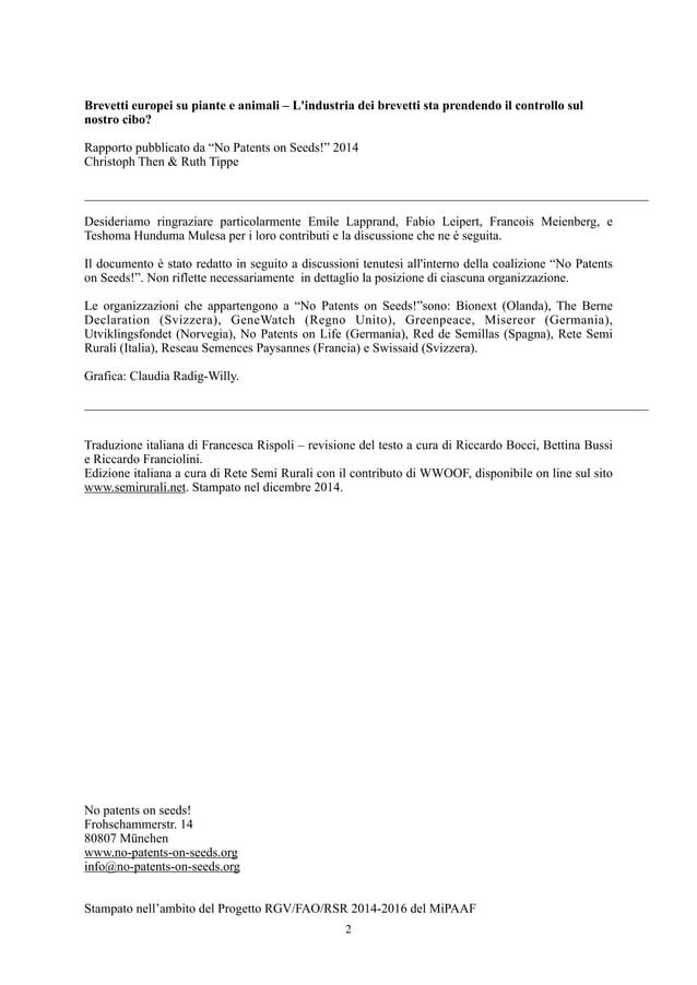 Brevetti europei su piante e animali – L'industria dei brevetti sta prendendo il controllo sul nostro cibo? Rapporto pubbl...