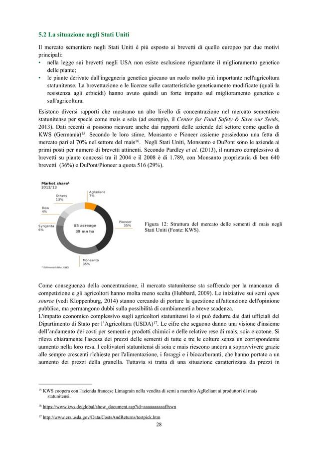 5.2 La situazione negli Stati Uniti Il mercato sementiero negli Stati Uniti è più esposto ai brevetti di quello europeo pe...
