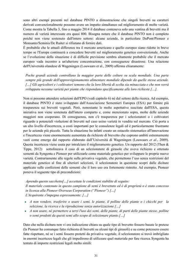 sono altri esempi presenti nel database PINTO a dimostrazione che singoli brevetti su caratteri derivati convenzionalmente...