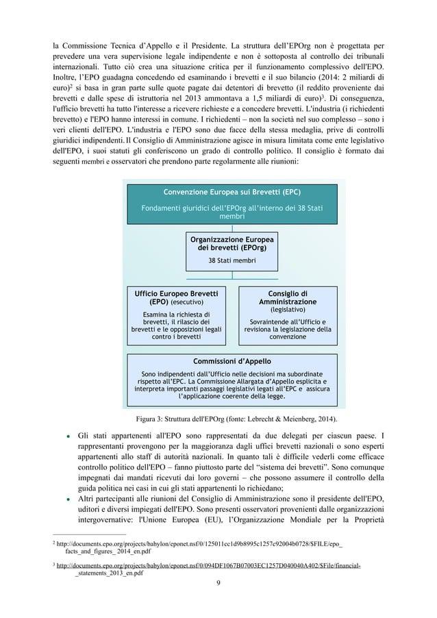 la Commissione Tecnica d'Appello e il Presidente. La struttura dell'EPOrg non è progettata per prevedere una vera supervis...