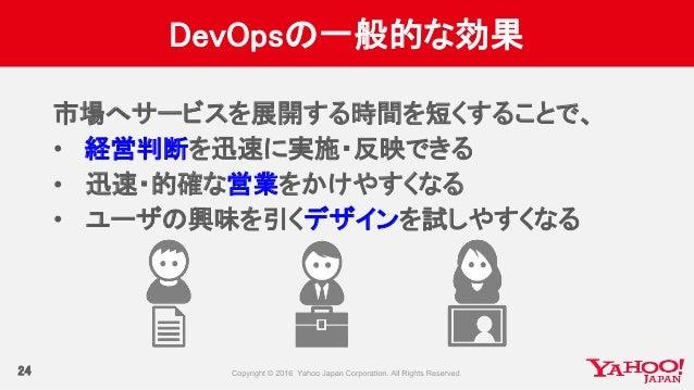 DevOpsの一般的な効果 24 市場へサービスを展開する時間を短くすることで、 • 経営判断を迅速に実施・反映できる • 迅速・的確な営業をかけやすくなる • ユーザの興味を引くデザインを試しやすくなる