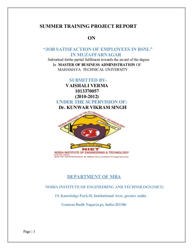 """SUMMER TRAINING PROJECT REPORT                                       ON            """"JOB SATISFACTION OF EMPLOYEES IN BSNL""""..."""
