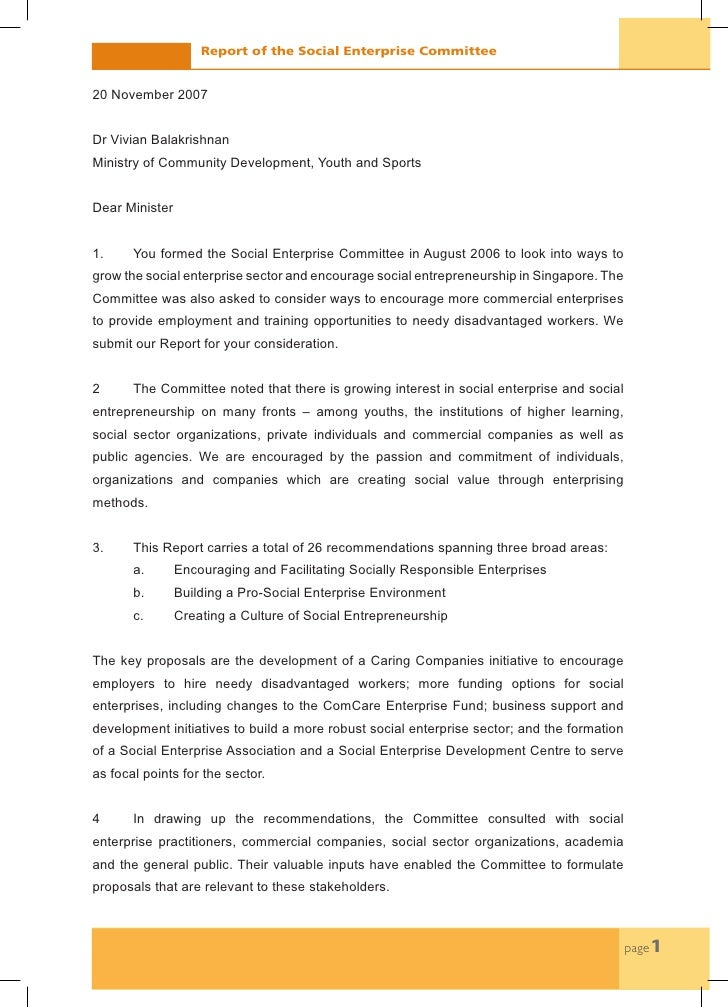 Report of the Social Enterprise Committee   20 November 2007   Dr Vivian Balakrishnan Ministry of Community Development, Y...