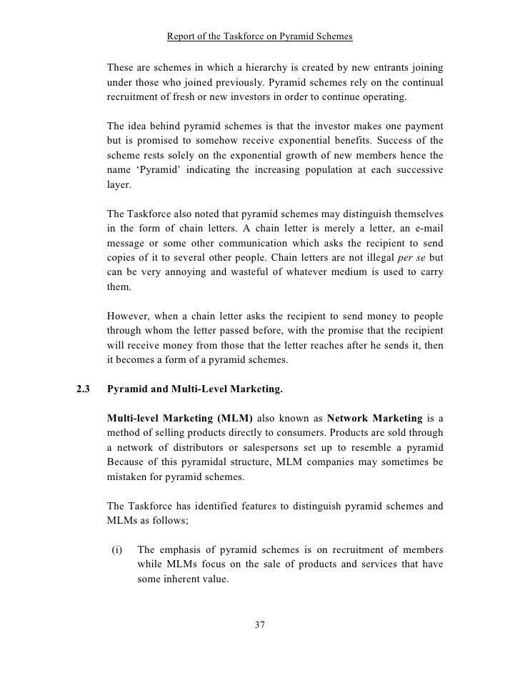 Report Of The Taskforce On Pyramid Schemes 37 728gcb1262422048