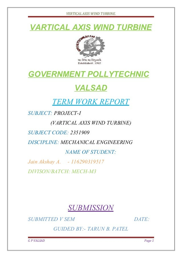 Report of vartical axis wind turbine