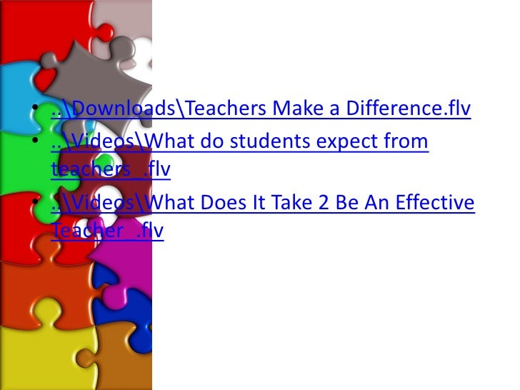 • ..DownloadsTeachers Make a Difference.flv• ..VideosWhat do students expect from  teachers_.flv• ..VideosWhat Does It Tak...