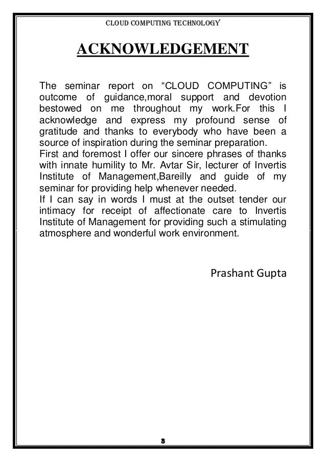 Report On Cloud Computing By Prashant Gupta