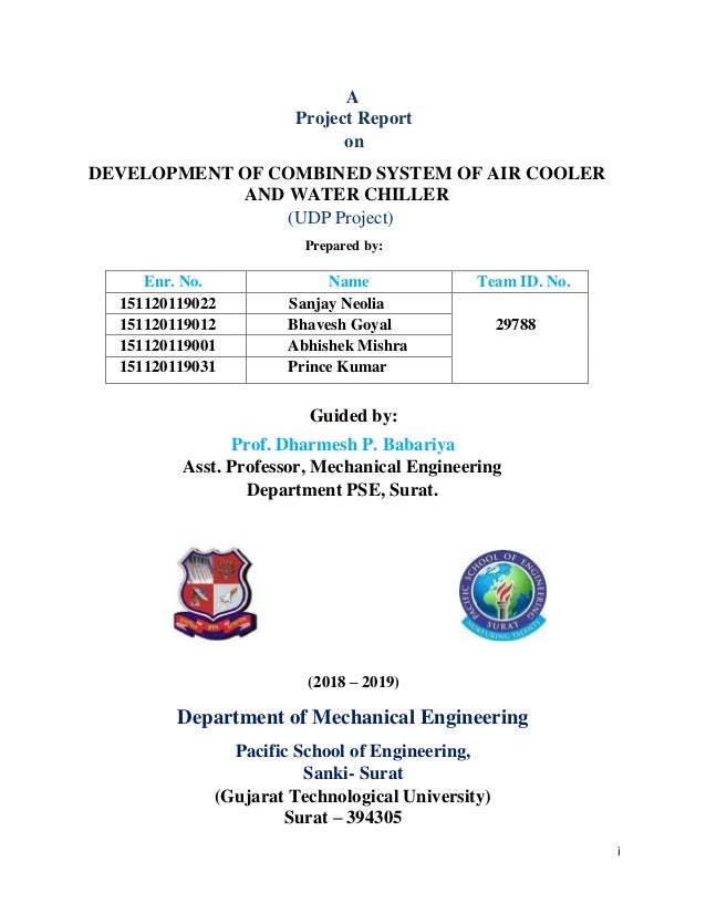 A report on combine system of air cooler and water chiller by Sanjay …