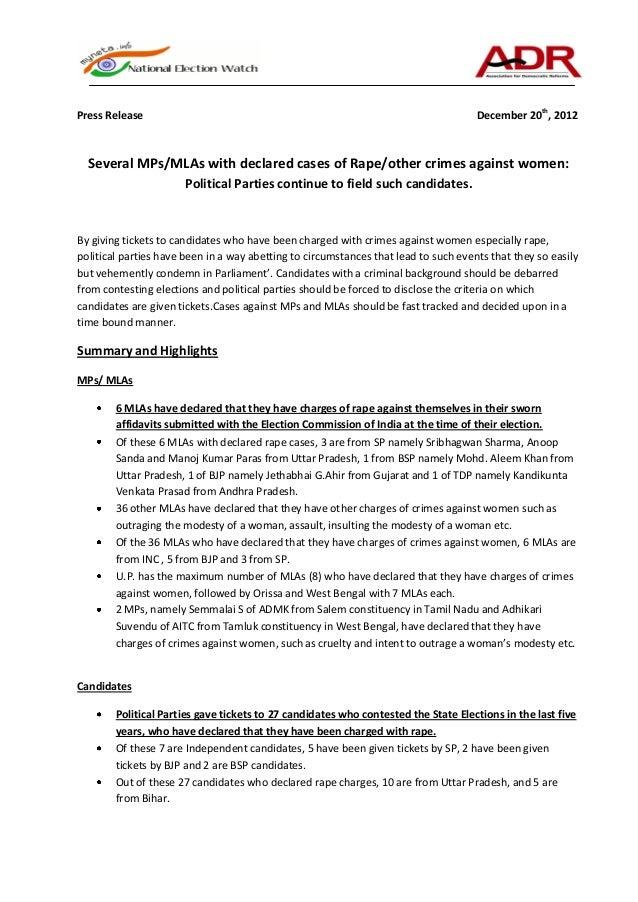 Press Release                                                                        December 20th, 2012  Several MPs/MLAs...