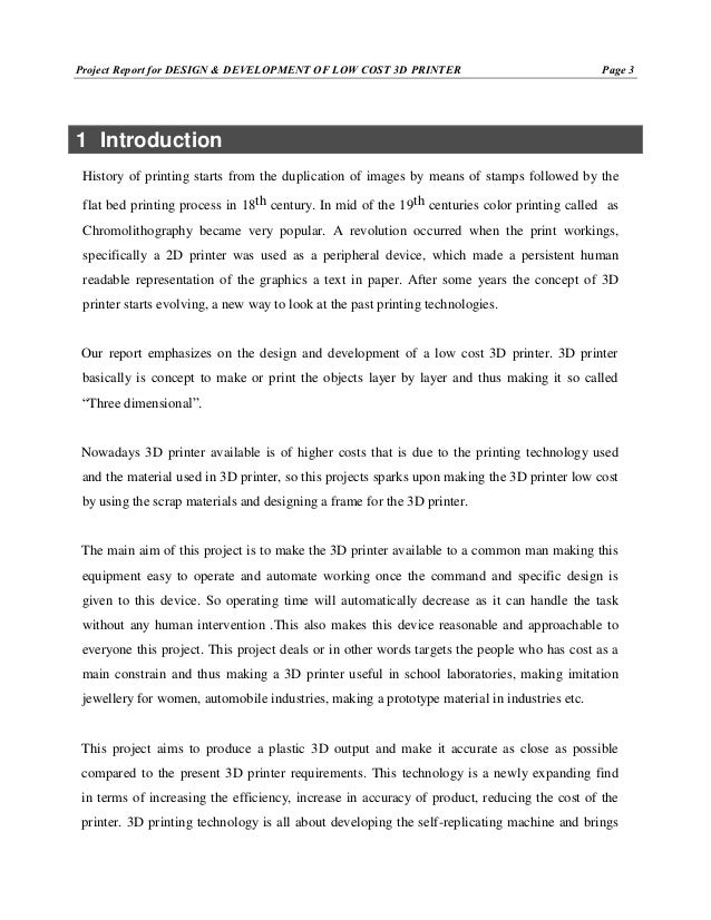 Report on design and development of low cost 3d printer