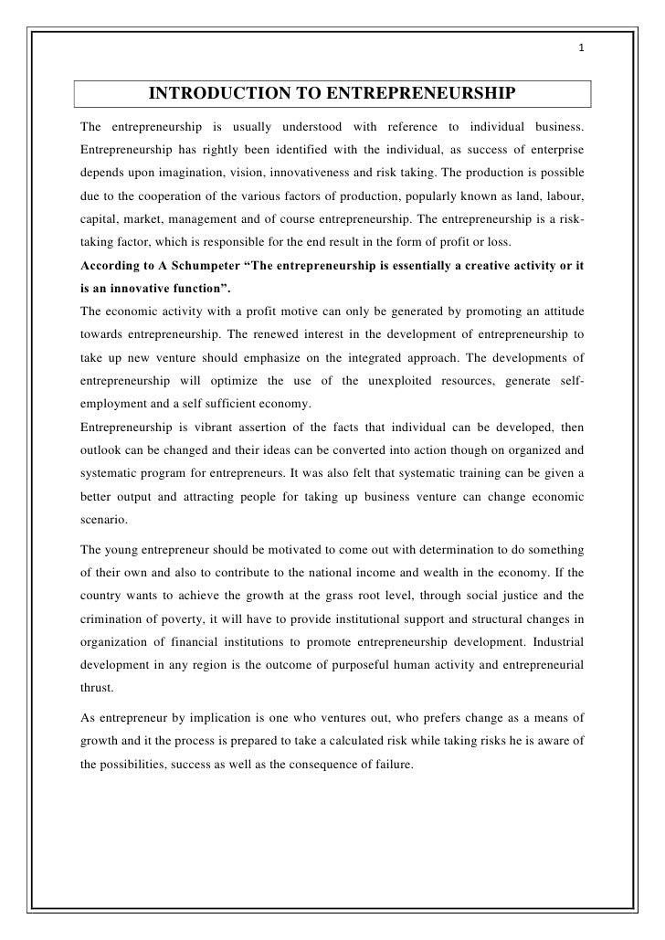 entrepreneurship report