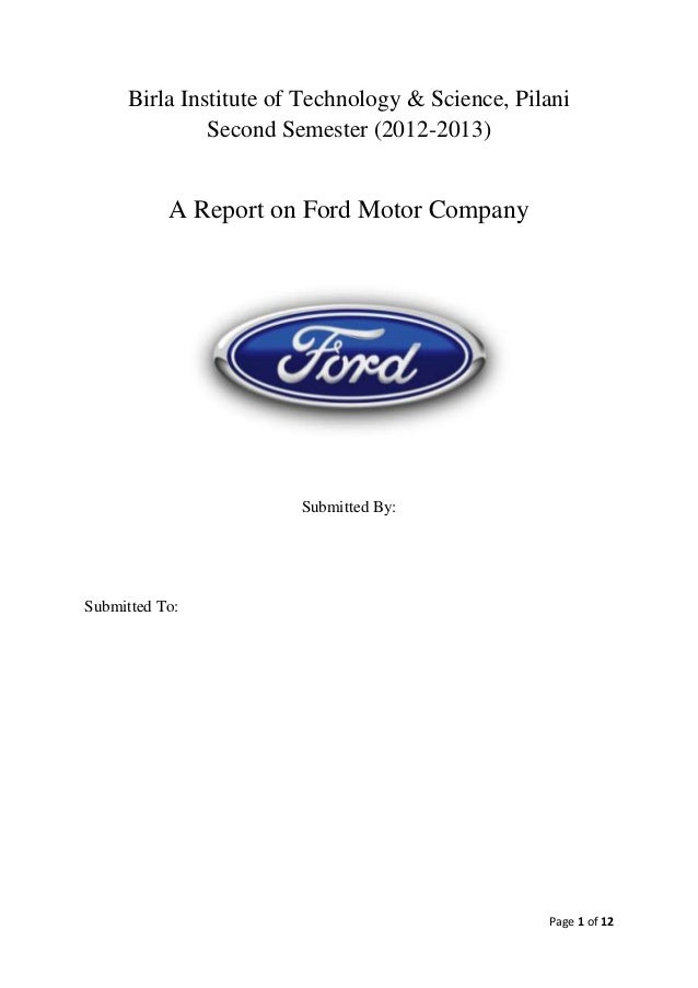 Report on ford motor company pom Ford motor company technology