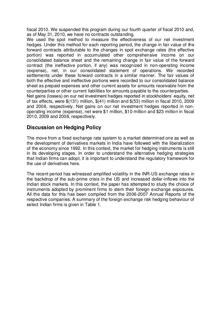 Forex exposure report