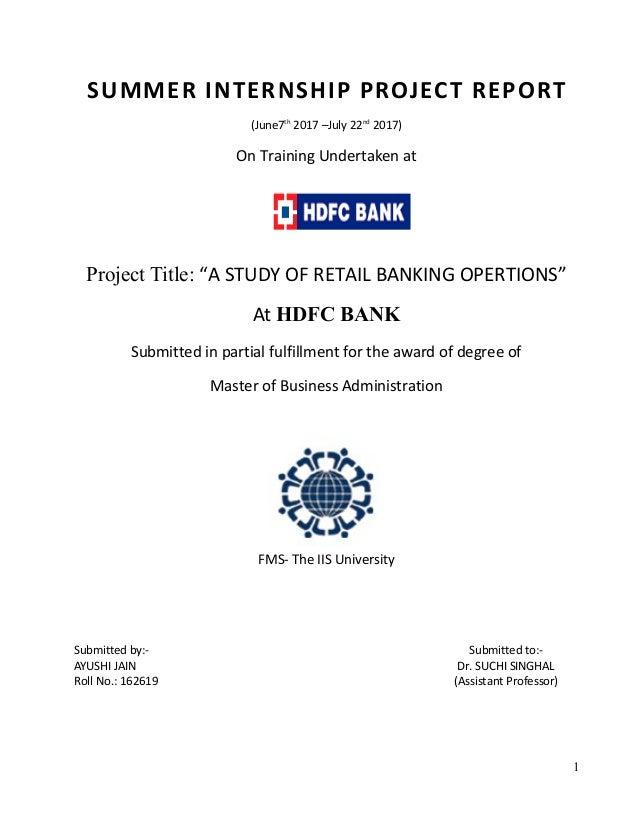 hdfc bank summer internship