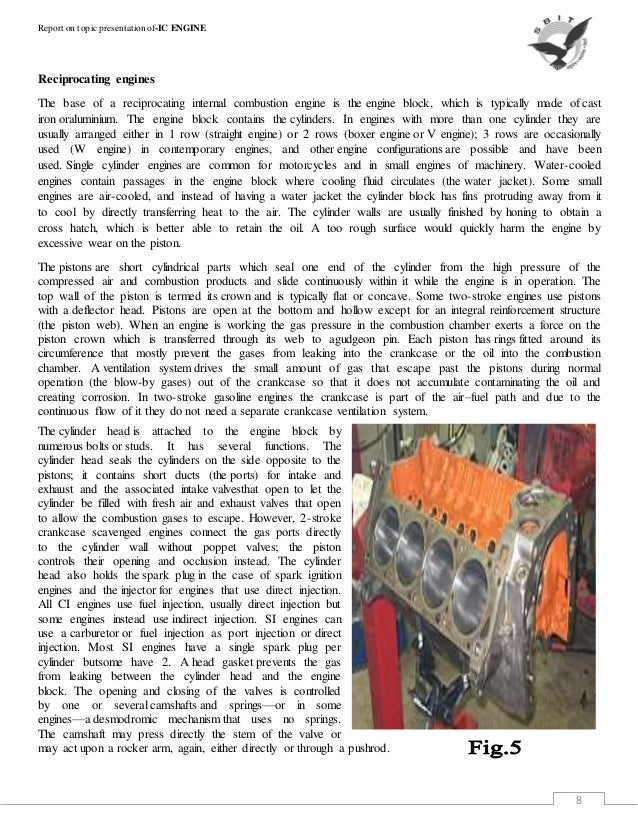 Report on ic engine 2015