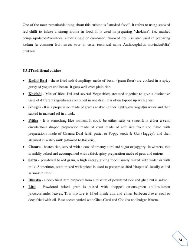 Report on indian cuisines