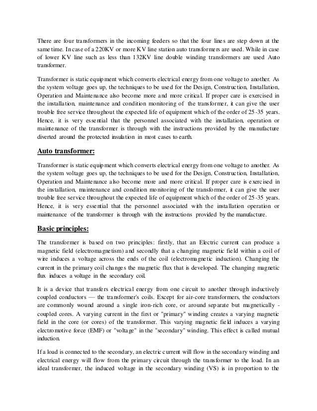 summer training report on 220 kv Summer training report 2010  king fahd university of petroleum and minerals  (138 kv) to low voltage (380 v/220 v or 220 v/110 v.