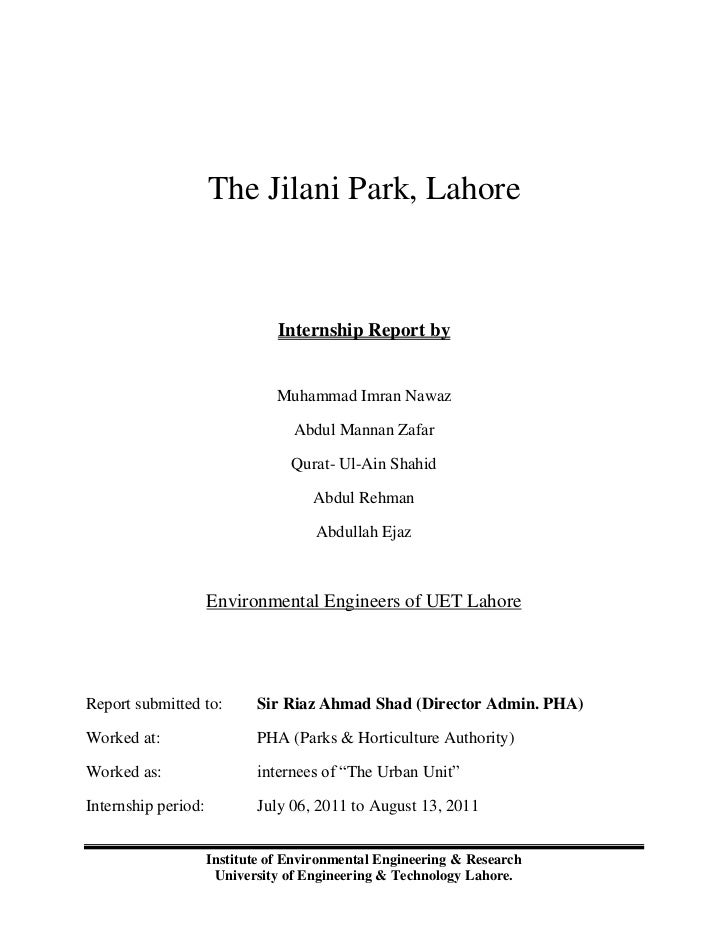 The Jilani Park, Lahore                                Internship Report by                               Muhammad Imran N...