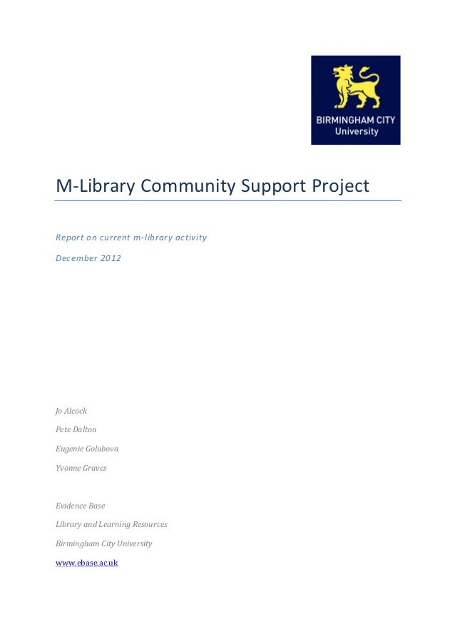M-‐Library Community Support Project  Report on...