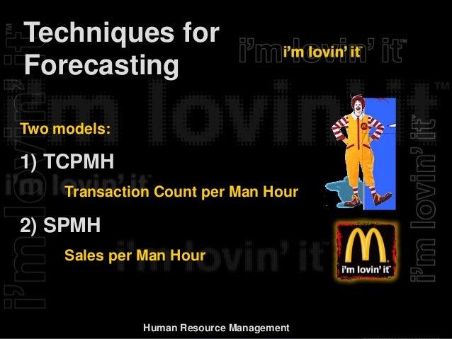 Forecasting in McDonalds Essay