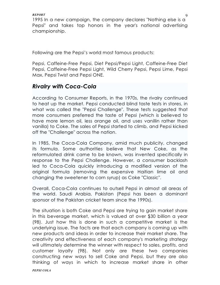pepsi report Project report on pepsi : this is the project study on pepsi which will help you a lot to know about pepsi and you can download it as well.